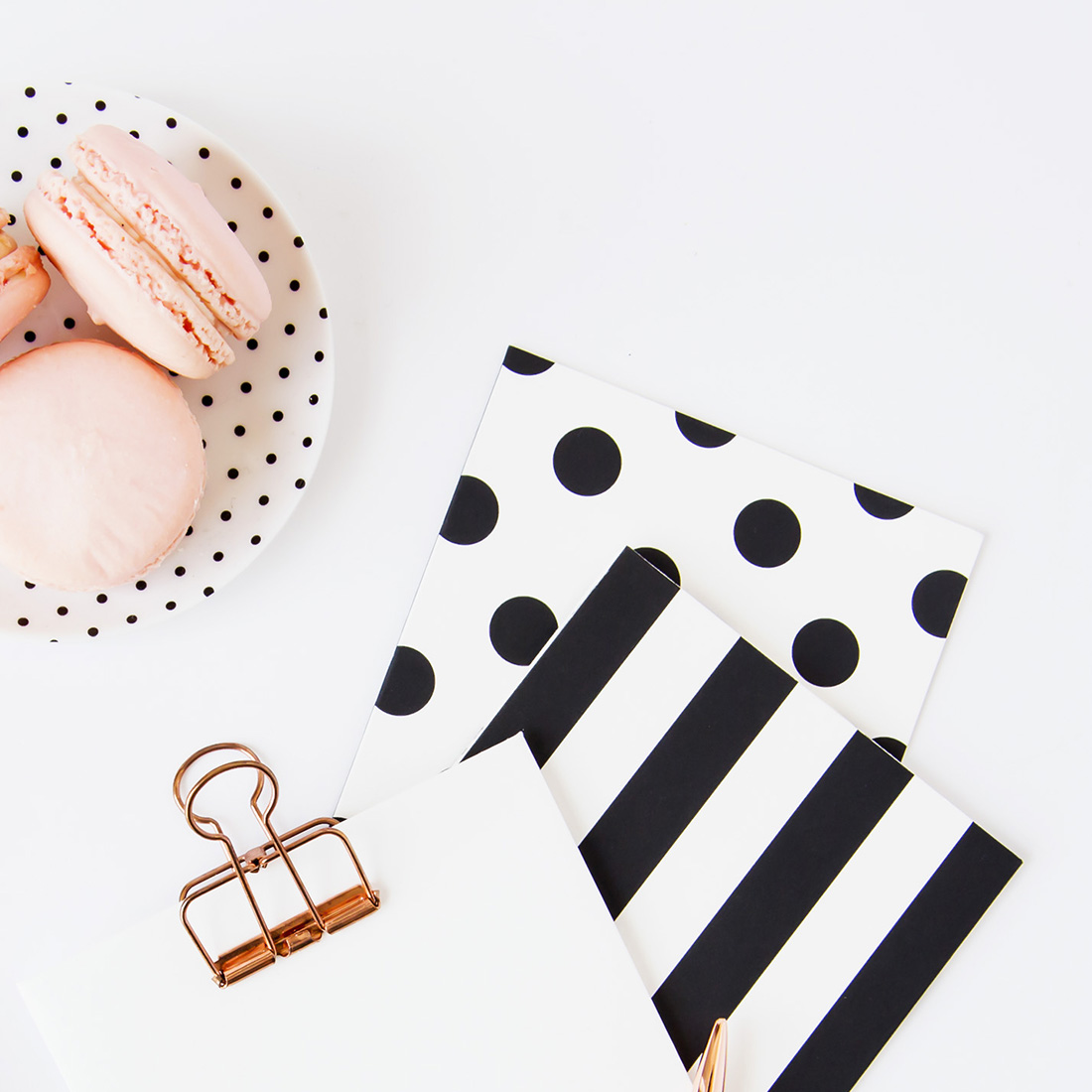 Rose Gold and Black Desk Flat Lay