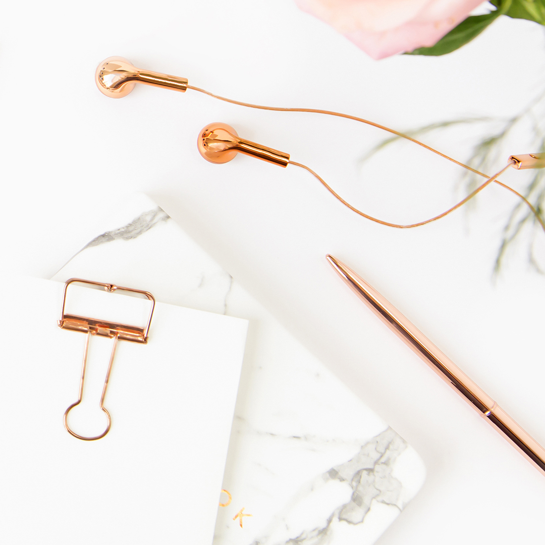 White and Rose Gold Flat Lay